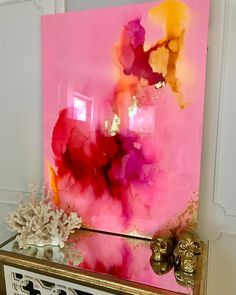 pink and gold abstract painting with high gloss resin coat. www.blueberryglitter.com
