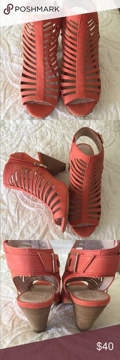 """Vince Camuto side zip cut out sandal w/ buckle❤️ Salmon/ coral colored Vince Camuto cut out side zip and buckle accent sandal  ! Super cute and comfortable !! Very very stylish ! 3"""" heel great w/ skinny jeans dresses and skirts!! ❤️ Vince Camuto Shoes Sandals"""