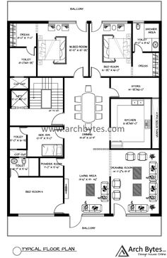 This is just a basic over View of the house plan for 46 x 71 feet. If you any query related to house designs feel free to Contact us at info@archbytes.com Home Design Floor Plans, Floor Design, House Floor Plans, House Plans For Sale, Family House Plans, 30x50 House Plans, Army Day, Floor Layout, Small House Design