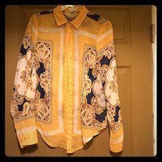 Bar III Sheer shirt Orange(Not the traditional Halloween orange) white & navy shirt. NWOT never worn size Medium 100% polyester Bar III Tops Button Down Shirts