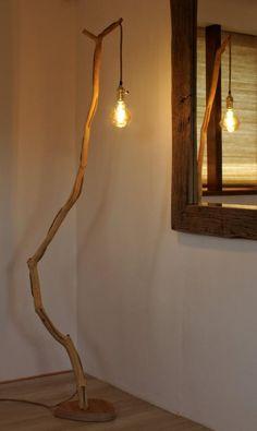 Floor lamp lamp of weathered old Oak branch Lighting wood lamp Led Edison living room lamp Hand made height 190 cm Diy Floor Lamp, Unique Floor Lamps, Wood Floor Lamp, Tree Floor Lamp, Luminaire Original, Driftwood Lamp, Deco Luminaire, Tree Lamp, Diy Holz