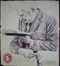 biro on envelope | by mark powell bic biro drawings