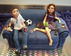 20 of the Best Sofa Cake Ideas You Will Ever See - Stylish Eve Pretty Cakes, Beautiful Cakes, Amazing Cakes, Unique Cakes, Creative Cakes, Bed Cake, Fondant People, Best Cake Ever, Family Cake