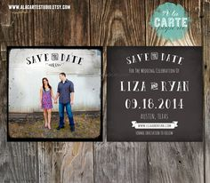 Chalkboard Vintage Save the Date Card - Square 5x5 inches card. $15.00, via Etsy.