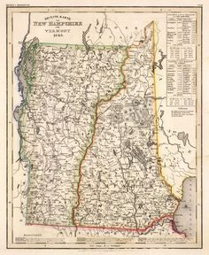 Wonderful map of New Hampshire and Vermont from 1845. Vintage Wall Art, Vintage World Maps, Historical Maps, Pigment Ink, New Hampshire, Hand Coloring, Vermont, Restoration, Canvas Prints