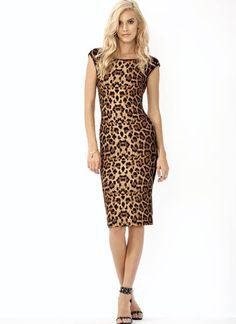 Shimmering Leopard Midi Dress.