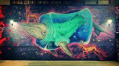 Because #whale and #deer #mural #streetart #urbanart #photography #Williamsburg #Brooklyn #NYC #NewYork #ChristmasEve #night