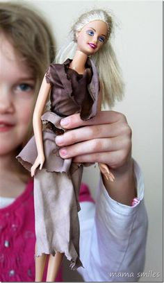 Fabric scraps and pipe cleaners are all you need for these child-designed Barbie clothes