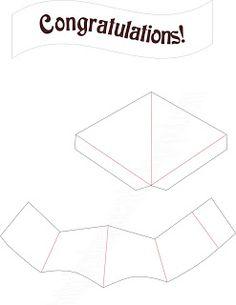 pop up card template for graduation cap