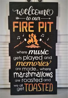 Fire Pit Ideas Backyard - Primitive Large Welcome To Our Fire Pit Sign, Outdoor Sign, Solid Wood Sign Diy Fire Pit, Fire Pit Backyard, Backyard Signs, Fire Pit Decor, Big Backyard, Back Yard Fire Pit, Build A Fire Pit, Deck With Fire Pit, Fire Pit Pergola