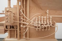 roxy paine carves life-sized airport security checkpoint from wood
