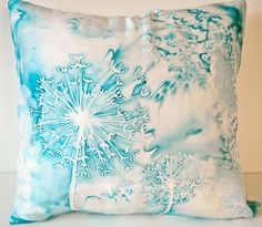Blue dandelion abstract watercolor handpainted 16x16 silk throw pillow cover Made to Order
