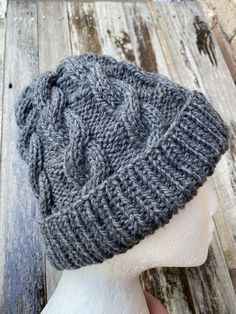Excited to share this item from my #etsy shop: Grey cable knitted beanie, grey winter beanie, ladies cable beanie, grey cable knitted beanie, mens grey wool beanie knit cable, mens beanie
