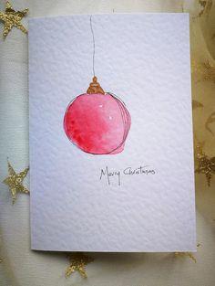 Painted Christmas Cards, Cute Christmas Cards, Watercolor Christmas Cards, Christmas Drawing, Watercolor Cards, Xmas Cards, Christmas Art, Diy Cards, Handmade Christmas Cards