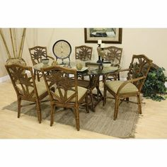 Cancun Palm Indoor Rectangular Dining Set with 6 Side Chairs Fabric: Rave Lemon by Hospitality Rattan. $1279.87. 7 PC SET-401-D-TCA/Z-600-JW-324 Fabric: Rave Lemon The Cancun Palm dining collection is one of our exclusive and largest collections of fine rattan and herringbone wicker weaving. That has a fiber palm tree castings design. The woven leather bindings used throughout Cancun Palm ensures its durability and quality for many years of use. It enhances th...