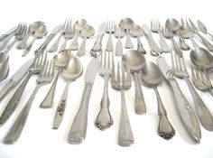 New to LaurasLastDitch on Etsy: Cottage Chic Stainless Silverware Set Mismatched Flatware Service for 12 8 4 or Single Place Settings (25.99 USD)