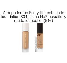"""40 Likes, 5 Comments - makeup dupes (@makeupdupes.x) on Instagram: """"here is a dupe for the fenty foundation! these are velvet matte foundations with medium coverage…"""""""