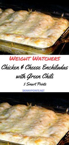 Chicken & Cheese Enchiladas with Green Chili - Skinny ww recipes Weight Watchers Enchiladas, Weight Watchers Chili, Weight Watcher Dinners, Weight Watchers Chicken, Skinny Recipes, Ww Recipes, Mexican Food Recipes, Chicken Recipes, Cooking Recipes
