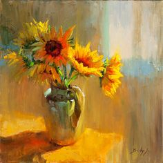 Sunflowers still life oil painting on canvas for sale by Becky Joy