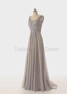 Grey Prom Dresses Elegant Beaded Long Bridesmaid By DazzlingDay