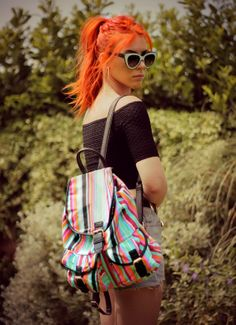#summerstyle #backpack #redhair #fashion