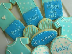 baby boy baby shower cookies - could change colors and words for a baby girl!