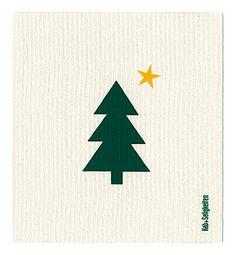 """Schwammtuch """"Weihnachtsbaum + Stern"""" (weiß/ grün). Das bedruckte Schwammtuch ist ein Naturprodukt und einfach in der Waschmaschine zu reinigen. Er verfärbt nicht, hat eine lange Lebensdauer und ist kompostierbar. Produziert in Deutschland. 20 cm x 22 cm. 70% Viskose, 30% Baumwolle. - Erhältlich bei: http://shop.hokohoko.com"""