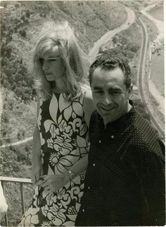 "Monica Vitti and director Michelangelo Antonioni on the set of their ""Red Desert""."