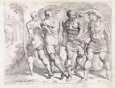 Theodoor van Thulden | Odysseus geeft zijn wapens aan Eumaeus, Theodoor van Thulden, 1632 - 1633 | Odysseus, zijn zoon Telemachus, Eumaeus en Philoetius arriveren verborgen onder een donkere wolk bij de woonplaats van Laertes. Odysseus geeft zijn wapens aan Eumaeus.
