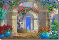 "Ceramic Tile Mural Backsplash Senkarik Courtyard Fountain Art 18"" x 12"" MSA128 