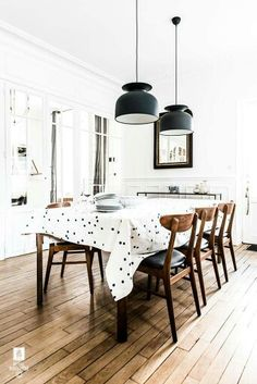 Mid-century and pola dots in the dining space of a fabulous home in Fontainebleau France. & 10 narrow dining tables for a small dining room | Pinterest | Narrow ...
