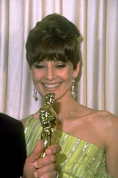 """Audrey Hepburn at the 39th Annual Academy Awards, April 10, 1967. Audrey presented the Best Picture award to Fred Zinnemann for """"A Man For All Seasons."""""""
