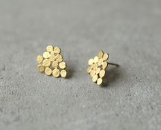 gold cluster earrings small version hand made gold by StudioBALADI, $61.00