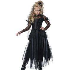 Put a dark twist on the princess you've always wanted to be this Halloween with this Tween Dark Princess Costume. Make the darkness your own on Halloween night with this costume that will turn you into the dark royalty of your nightmares. Halloween Party Kinder, Baby Halloween Costumes For Boys, Halloween Outfits, Halloween Kids, Costume Halloween, Kids Witch Costume, Girls Skeleton Costume, Witches Costumes For Women, 50s Costume