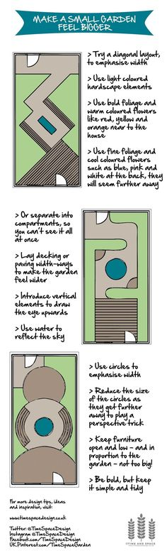 Make a small #garden feel bigger #designtips #smallgarden #gardendesign…