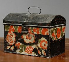 Paint-decorated Tinware Box, America, early 19th century, hinged dome top with wire handle, decorated with a red- and green-painted ... http://www.artfact.com/archives