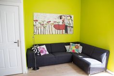 Feature lime green wall | 40plusstyle.com