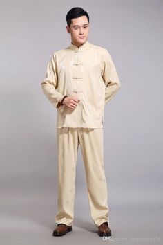 GOLD Traditional Chinese Ethnic Clothes Men Kung Fu Jacket Pants ... Ethnic  Clothes 07f52f1ea