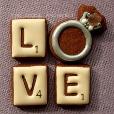 The Cookie Architect: Engagement ring and Scrabble pieces spell LOVE Edible Cookies, Iced Cookies, Cookies Et Biscuits, Sugar Cookies, Valentines Day Cookies, Fancy Cookies, Cute Cookies, Cookie Icing, Royal Icing Cookies