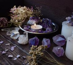 In this sacred space, the crystals and candles hold great meaning in this altar.