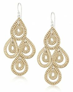 Anna Beck's timeless and elegant Gili gold teardrop chandelier earrings that can be worn casual and dressy. Gold Chandelier Earrings, 18k Gold Earrings, 18k Gold Jewelry, Women's Earrings, Teardrop Earrings, Jewelry Design, Designer Jewelry, Designer Earrings, Jewelry Making