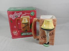 Vintage A Christmas Story Leg Lamp Mug 40 oz Molded Ceramic Fragile Crate Cup Stein by WesternKyRustic on Etsy