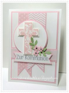 pink and with cross,banner, ribbon Confirmation Cards, Baptism Cards, Diy Easter Cards, Easter Crafts, Christian Cards, Christian Crosses, First Communion Cards, Easter Wishes, Get Well Cards
