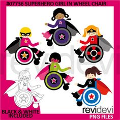 Superhero girl in wheelchair clipart. This special education needs theme clip art set features multi racial children. Wheel chairs look cool in superhero theme. Find boys version here Link-Superhero boy in wheelchair