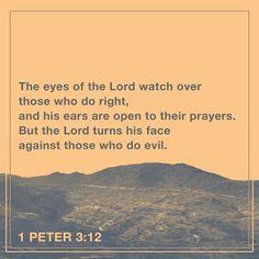 Porque los ojos del Señor están sobre los justos, y sus oídos, atentos a sus oraciones; pero el rostro del Señor está contra los que hacen el mal.»  Y a ustedes, ¿quién les va a hacer daño si se esfuerzan por hacer el bien? 1 Pedro 3:12-13 NVI http://bible.com/128/1pe.3.12-13.NVI