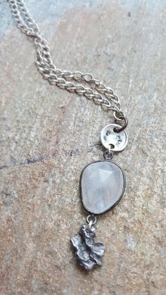 Moonstone necklace - Meteorite necklace - June birthstone - moonstone pendant - gemstone necklace - June birthstone gift - moonstone - product images  of