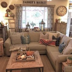 27 Breathtaking Rustic Chic Living Rooms that You Must See   Living     Oh Tammy  Your home always looks so inviting  Thanks for including our  Farmers Market walldecor in your homedecor    Rustic Home Decor Diy