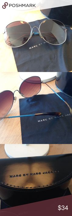 Marc by Marc Jacobs sunglasses Marc sunglasses. Silver frame + blue&brown legs. Co well with any kind of outfit. Good condition Marc by Marc Jacobs Accessories Sunglasses