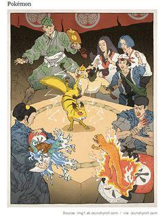 アメリカ人の描く浮世絵風ゲームキャラ pokemon