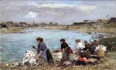 Laundresses on the Banks of the Touques - Eugene Boudin  .Completion Date: 1893.